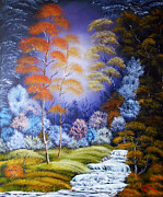 Oil On Canvas Posters - Original oil painting in handmade landscape on canvas in the style fantasy Fabled Forest Poster by Natalya Zhdanova
