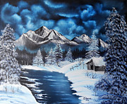 Palette Knife Posters - Original oil painting  Landscape on canvas palette knife Winter Night in the Mountains Poster by Natalya Zhdanova