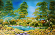 Oil On Canvas Posters - Original oil painting  of the green Forest Landscape Summer Mirage  A canvas on stretcher Poster by Natalya Zhdanova