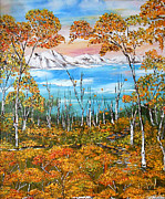 Oil Prints - Original painting in handmade Autumn Sunset oil on canvas  Landscape palette knife Print by Natalya Zhdanova