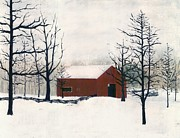 Realist Digital Art - Original Painting Red Barn Snow Maryland by G Linsenmayer