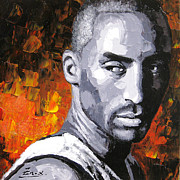 Kobe Framed Prints - Original palette knife painting Kobe Bryant Framed Print by Enxu Zhou