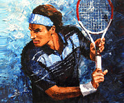 Roger Federer Paintings - original palette knife painting Roger Federer by Enxu Zhou