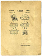 Chart Metal Prints - Original Patent for Lego Toy Building Brick Metal Print by Edward Fielding