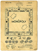 Board Photo Metal Prints - Original Patent for Monopoly Board Game Metal Print by Edward Fielding