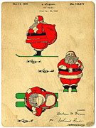 Santa Claus Photo Prints - Original Patent for Santa On Skis Figure Print by Edward Fielding