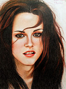 Eclipse Drawings - Original Portrait Drawing of Kristen Stewart by Aelyah