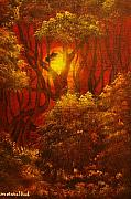 Norwegian Sunset Paintings - ORIGINAL SOLD-Fairytale Forest- Private Collection- Buy Giclee Print Nr 41 by Eddie Michael Beck