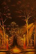 Streetlight Painting Posters - ORIGINAL SOLD-Parks Gate- Private Collection-Buy Giclee Print Nr 19 Poster by Eddie Michael Beck