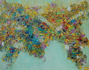 Earth Map Paintings - ORIGINAL SOLD PRINTS AVAILABLE Worldly Flowers by Sara Gardner