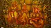 Jerusalem Paintings - ORIGINAL SOLD-Three Old Beggars- Private Collection- Buy Giclee Print Nr 41  by Eddie Michael Beck