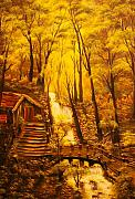 Original Sold-tranquil Cottage Stream-  Private Art Collection-buy Giclee Print Nr 39 Print by Eddie Michael Beck