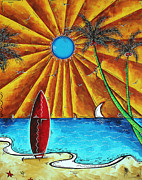 Surf Board Prints - Original Tropical Surfing Whimsical Fun Painting WAITING FOR THE SURF by MADART Print by Megan Duncanson