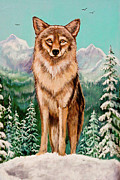 Central America Mixed Media - Original Wiley Coyote in Arizona Mountains by Nadine and Bob Johnston