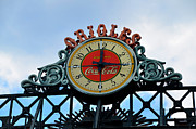 Baltimore Orioles Framed Prints - Orioles Clock - Camden Yards Framed Print by Bill Cannon