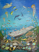 Sea Turtles Painting Originals - Oriskany Shallow gets Deep by Vanuel Robertson