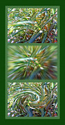 Light And Shadow Mixed Media Framed Prints - Ornamental Ribbon Grass Abstract Triptych Framed Print by Steve Ohlsen