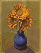 Ornamental Paintings - Ornamental Sunflowers by Cathy Locke