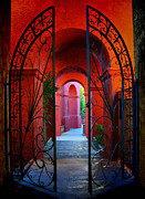 Entryway Prints - Ornate Gate to Red Archway Print by Amy Cicconi