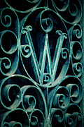 Ornate Letter W In Cemetery Print by Amy Cicconi
