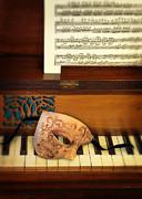 Ornate Mask On Piano Keys Print by Jill Battaglia