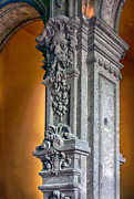 Ornate Mexican Stone Column Print by Lynn Palmer