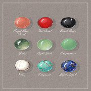 Color Green Jewelry Posters - Ornemental Gemstone palette Poster by Marie Esther NC