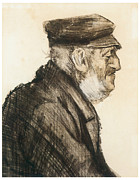 Portrait Of Old Man Framed Prints - Orphan man bust-length Framed Print by Vincent van Gogh