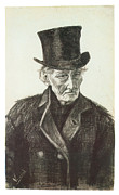 Impressionism Drawings Prints - Orphan Man with a Top Hat Print by Vincent Van Gogh