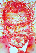 Citizen Painting Framed Prints - ORSON WELLES watercolor portrait Framed Print by Fabrizio Cassetta