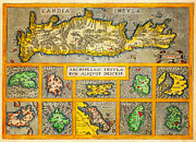 Cartography Paintings - Ortelius Map of Crete  Candia  and 10 Greek Islands Geographicus CandiaInsula ortelius 1584 by MotionAge Art and Design - Ahmet Asar
