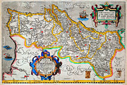 Cartography Paintings - Ortelius Map of Portugal Porvgalliae Geographicus Portugalliae ortelius 1587 by MotionAge Art and Design - Ahmet Asar