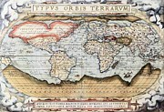 Cartography Mixed Media Prints - Ortelius World Map 1570 AD Print by Ortelius - L Brown