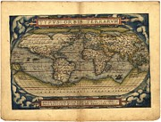 Theatrum Orbis Terrarum Framed Prints - Ortelius world map type 2 Framed Print by Joseph Hawkins