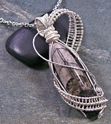 Wire-wrapped Jewelry Originals - Orthoceras Fossil Wire-Wrapped Lattice Pendant -OFP17 by Heather Jordan
