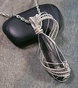 Jordan Jewelry - Orthoceras Fossil Wire-Wrapped Lattice Pendant OFP21 by Heather Jordan