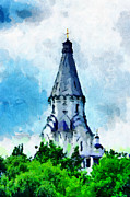 Orthodox Christian Chirch Dome Painting Print by Magomed Magomedagaev