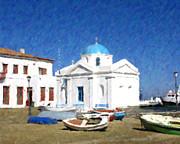 Orthodox Church Mykonos Island Greece Print by Dan Chavez