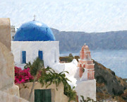 Greece Mixed Media Posters - Orthodox Church Santorini Island Greece Poster by Dan Chavez