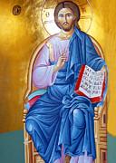 Orthodox Icon Of Jesus In Blue Print by Munir Alawi