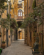 Old World Metal Prints - Orvieto Side Street Metal Print by Lynn Andrews