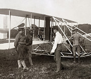 Wright Photos - ORVILLE WRIGHT and AEROPLANE  1908 by Daniel Hagerman