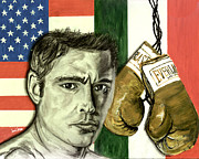 Boxing Gloves Painting Prints - Oscar De La Hoya Print by Israel Torres