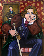 Folk  Paintings - Oscar Wilde and the Picture of Dorian Gray by Victoria De Almeida