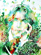 Oscar Wilde Prints - Oscar Wilde Watercolor Portrait.2 Print by Fabrizio Cassetta