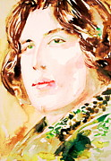 Oscar Wilde Framed Prints - Oscar Wilde Watercolor Portrait.3 Framed Print by Fabrizio Cassetta