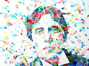 Cigar Prints - OSCAR WILDE with CIGAR - watercolor PORTRAIT Print by Fabrizio Cassetta