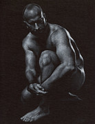 Male Drawings Prints - Oscuro 10 Print by Chris  Lopez