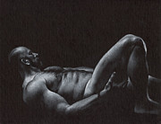 Charcoal Drawings Framed Prints - Oscuro 6 Framed Print by Chris  Lopez