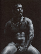 Muscle Drawings Metal Prints - Oscuro 7 Metal Print by Chris  Lopez